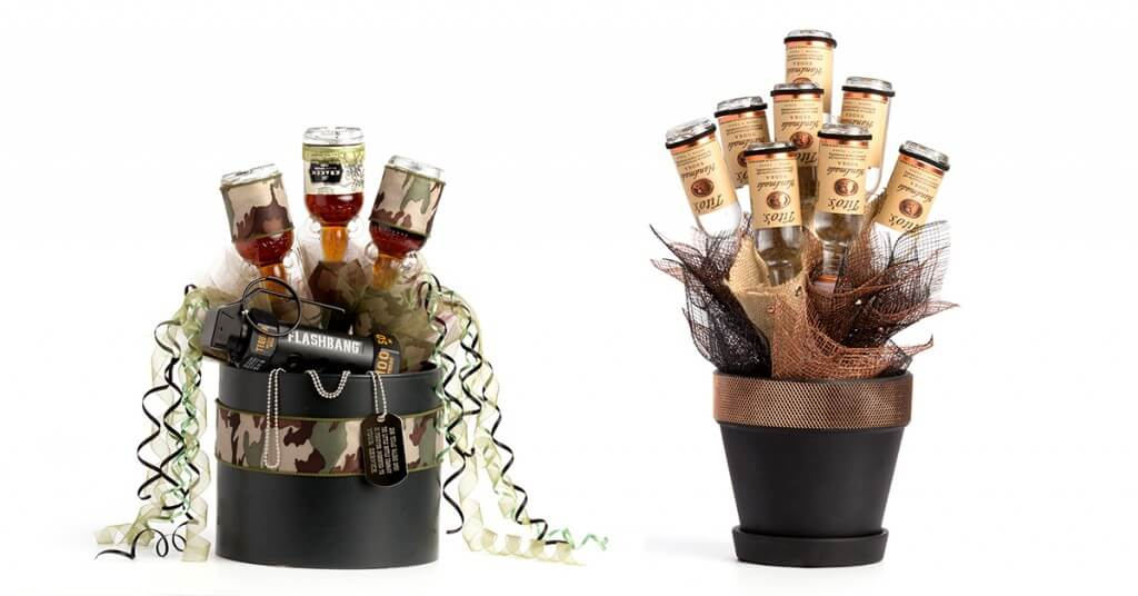 Father's Day duo of little bottle arrangements