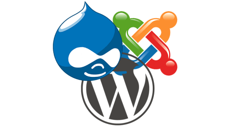 Drupal, Wordpress, Joomla logos intertwined